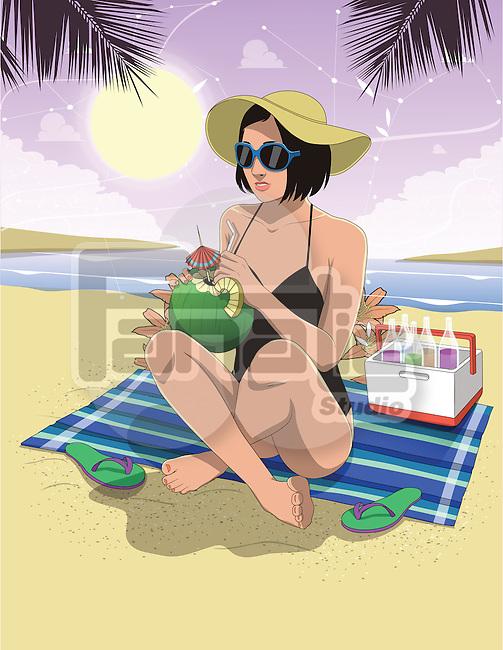 Illustration of woman in swimwear having coconut water at beach