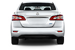 Straight rear view of2014 Nissan Sentra SV 4 Door Sedan Rear View  stock images