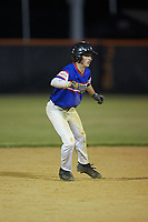 Trent Little (1) of Mooresville Post 66 takes his lead off of second base against Kannapolis Post 115 during an American Legion baseball game at Northwest Cabarrus High School on May 30, 2019 in Concord, North Carolina. Mooresville Post 66 defeated Kannapolis Post 115 4-3. (Brian Westerholt/Four Seam Images)
