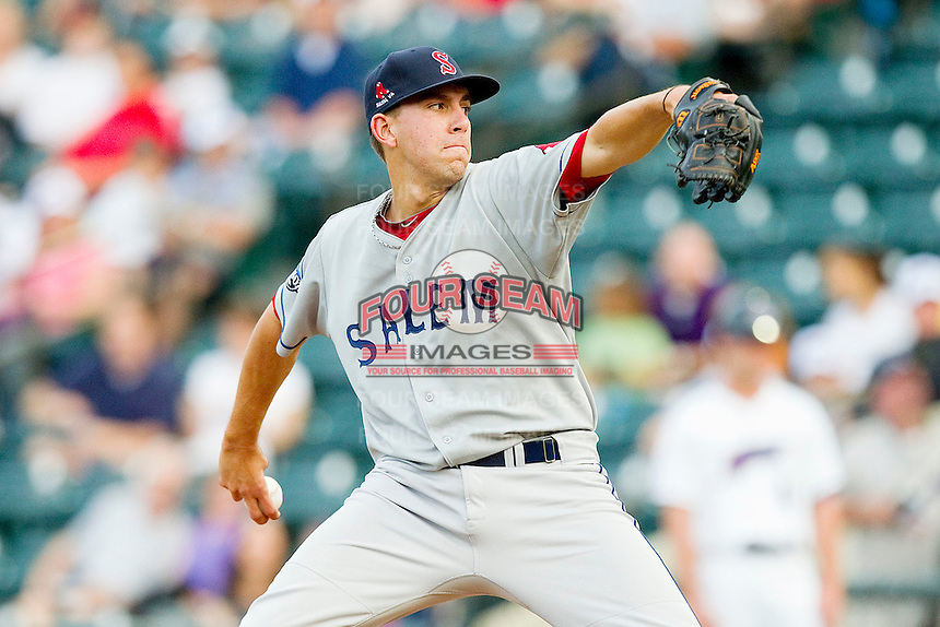Salem Red Sox starting pitcher Matt Barnes #35 in action against the Winston-Salem Dash at BB&T Ballpark on May 5, 2012 in Winston-Salem, North Carolina.  The Red Sox defeated the Dash 6-4.  (Brian Westerholt/Four Seam Images)