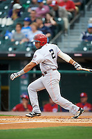 Louisville Bats center fielder Hernan Iribarren (2) at bat during a game against the Buffalo Bisons on June 20, 2016 at Coca-Cola Field in Buffalo, New York.  Louisville defeated Buffalo 4-1.  (Mike Janes/Four Seam Images)