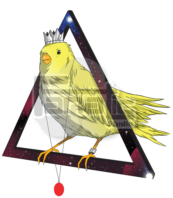 Illustration of bird wearing crown and locket standing on triangle against white background