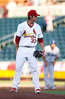 Michael Blazek (33) of the Springfield Cardinals on the mound during a game against the Tulsa Drillers at Hammons Field on July 19, 2011 in Springfield, Missouri.Tulsa defeated Springfield 17-11. (David Welker / Four Seam Images)