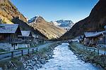 Austria, East-Tyrol, Gschloess Valley near Matrei: mountain torrent Gschloessbach at Innergschloess and High Tauern mountains   Oesterreich, Osttirol, das Gschloesstal bei Matrei: der Gschloessbach bei Innergschloess und Hohe Tauern