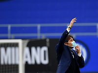 Inter Milan's coach Antonio Conte wears a protective mask as he gives suggestions to his players during the Italian Serie A football match between Inter Milan and Sampdoria at Milan's Giuseppe Meazza stadium, May 8, 2021.<br /> UPDATE IMAGES PRESS/Isabella Bonotto
