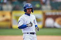 South Bend Cubs Levi Jordan (5) during a Midwest League game against the Cedar Rapids Kernels at Four Winds Field on May 8, 2019 in South Bend, Indiana. South Bend defeated Cedar Rapids 2-1. (Zachary Lucy/Four Seam Images)