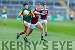 Kerry's Dylan Geaney been well shadowed by Galways Jack Kirrane in the U20 All Ireland football semi final.