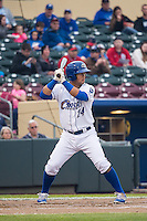 Cheslor Cuthbert (24) of the Omaha Storm Chasers at bat against the Memphis Redbirds in Pacific Coast League action at Werner Park on April 24, 2015 in Papillion, Nebraska.  (Stephen Smith/Four Seam Images)