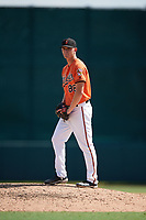 Baltimore Orioles pitcher Tim Naughton (86) gets ready to deliver a pitch during an Instructional League game against the Atlanta Braves on September 25, 2017 at Ed Smith Stadium in Sarasota, Florida.  (Mike Janes/Four Seam Images)