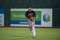 AZL Indians 2 right fielder Jhon Torres (22) during an Arizona League game against the AZL Dodgers at Goodyear Ballpark on July 12, 2018 in Goodyear, Arizona. The AZL Indians 2 defeated the AZL Dodgers 2-1. (Zachary Lucy/Four Seam Images)