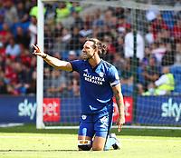 28th August 2021; Cardiff City Stadium, Cardiff, Wales;  EFL Championship football, Cardiff versus Bristol City; Sean Morrison of Cardiff City appeals for the freekick