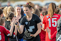 Boston, MA - Saturday April 29, 2017: Morgan Andrews and fans during a regular season National Women's Soccer League (NWSL) match between the Boston Breakers and Seattle Reign FC at Jordan Field.