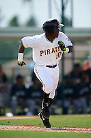 GCL Pirates second baseman Raul Siri (10) runs to first during the first game of a doubleheader against the GCL Yankees 2 on July 31, 2015 at the Pirate City in Bradenton, Florida.  GCL Pirates defeated the GCL Yankees 2 2-1.  (Mike Janes/Four Seam Images)