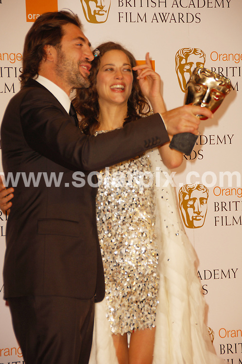 **ALL ROUND PICTURES FROM SOLARPIX.COM**.**WORLDWIDE SYNDICATION RIGHTS**.The Orange British Academy Film Awards.Royal Opera House, London, February 10th 2008   ..This pic: Javier Bardem and Marion Coutillard..JOB REF: 5750 MSR    DATE: 08_02_2008.**MUST CREDIT SOLARPIX.COM OR DOUBLE FEE WILL BE CHARGED* *UNDER NO CIRCUMSTANCES IS THIS IMAGE TO BE REPRODUCED FOR ANY ONLINE EDITION WITHOUT PRIOR PERMISSION*