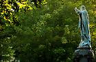 Sept. 24, 2013; Sacred Heart Jesus statue on Main Quad at sunrise. Photo by Barbara Johnston/University of Notre Dame