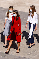 MADRID, SPAIN- October 12:  **NO SPAIN** Queen Letizia of Spain, Crown Princess Leonor, Princess Sofia attends The National Day Military Parade at Royal Palace on October 12, 2020 in Madrid, Spain. <br /> CAP/MPI/RJO<br /> ©RJO/MPI/Capital Pictures