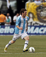Argentina forward  Lionel Messi (10) at midfield. In an international friendly (Clash of Titans), Argentina defeated Brazil, 4-3, at MetLife Stadium on June 9, 2012.