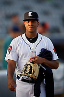 Connecticut Tigers pitcher Victor Mueses (29) walks to the dugout before a game against the Hudson Valley Renegades on August 20, 2018 at Dodd Stadium in Norwich, Connecticut.  Hudson Valley defeated Connecticut 3-1.  (Mike Janes/Four Seam Images)