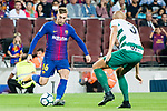 Gerard Deulofeu Lazaro of FC Barcelona (L) fights for the ball with Alejandro Galvez Jimena of SD Eibar (R) during the La Liga 2017-18 match between FC Barcelona and SD Eibar at Camp Nou on 19 September 2017 in Barcelona, Spain. Photo by Vicens Gimenez / Power Sport Images