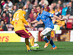 Motherwell v St Johnstone...30.08.14  SPFL<br /> Chris Millar and Keith Lasley<br /> Picture by Graeme Hart.<br /> Copyright Perthshire Picture Agency<br /> Tel: 01738 623350  Mobile: 07990 594431