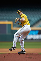 Missouri Tigers starting pitcher Konnor Ash (11) in action against the Oklahoma Sooners in game four of the 2020 Shriners Hospitals for Children College Classic at Minute Maid Park on February 29, 2020 in Houston, Texas. The Tigers defeated the Sooners 8-7. (Brian Westerholt/Four Seam Images)