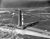 Kennedy Space Center (FLA) USA - May 20, 1969 - File Photo - <br /> Aerial view of The Transporter nears the top of the five percent incline at Launch Complex 39A with the Apollo 11 Saturn V.