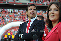 Wales manager Chris Coleman and tv presenter Frances Donovan during the homecoming celebrations at the Cardiff City stadium on Friday 8th July 2016 for the Euro 2016 Wales International football squad.<br /> <br /> <br /> Jeff Thomas Photography -  www.jaypics.photoshelter.com - <br /> e-mail swansea1001@hotmail.co.uk -<br /> Mob: 07837 386244 -