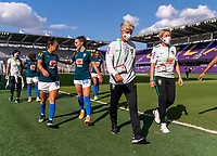 ORLANDO, FL - FEBRUARY 24: Pia Sundhage of Brazil walks on the field before a game between Brazil and Canada at Exploria Stadium on February 24, 2021 in Orlando, Florida.