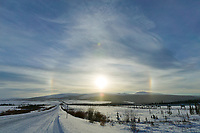 Sun dog over the James Dalton highway, Arctic, Alaska