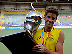 The Hague, Netherlands, June 15: Eddie Ockenden #11 of Australia poses with the World Cup Trophy after the prize giving ceremony on June 15, 2014 during the World Cup 2014 at Kyocera Stadium in The Hague, Netherlands. (Photo by Dirk Markgraf / www.265-images.com) *** Local caption ***