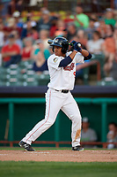 Tri-City ValleyCats designated hitter Enmanuel Valdez (9) at bat during a game against the Vermont Lake Monsters on June 16, 2018 at Joseph L. Bruno Stadium in Troy, New York.  Vermont defeated Tri-City 6-2.  (Mike Janes/Four Seam Images)