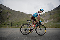 Alexis Vuillermoz (FRA/AG2R - La Mondiale) up the Col de l'Iseran (HC/2751m/13km@7.3%) <br /> > where the race was eventually stopped (at the top) because of landslides further up the road (after a severe hail storm in Tignes)<br /> <br /> Stage 19: Saint-Jean-de-Maurienne to Tignes (126km)<br /> 106th Tour de France 2019 (2.UWT)<br /> <br /> ©kramon