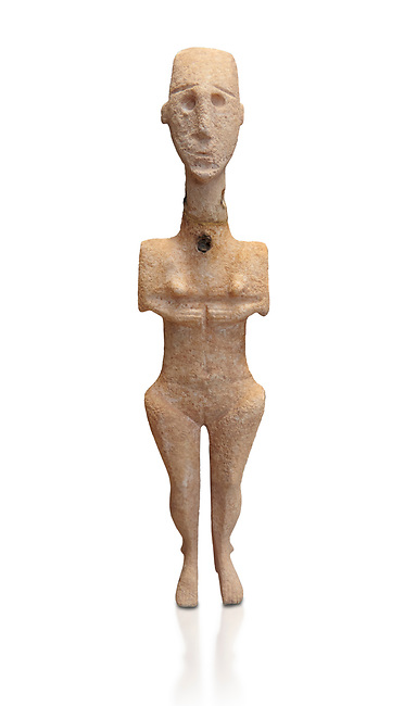 Cycladic statue figurine of the naturalistic 'Plastira' type of Paros. Early Cycladic Period I (Grotta-Pelos Phase 3200-2800 BC). National Archaeological Museum, Athens.   White background.<br /> <br /> <br /> This type of Cycladic figurine stand with feet lat to the ground with detailed facial features and ears to make a more realistic statue.