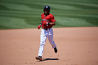 Erie SeaWolves Derek Hill (11) rounds the bases after hitting a home runduring an Eastern League game against the Harrisburg Senators on June 30, 2019 at UPMC Park in Erie, Pennsylvania.  Erie defeated Harrisburg 4-2.  (Mike Janes/Four Seam Images)