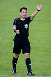 FIFA Referee Liu Kwok Man gestures during the Hong Kong FA Cup final between Kitchee and Wofoo Tai Po at the Hong Kong Stadium on May 26, 2018 in Hong Kong, Hong Kong. Photo by Marcio Rodrigo Machado / Power Sport Images