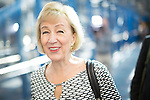 © Joel Goodman - 07973 332324 . 04/10/2016 . Birmingham , UK . ANDREA LEADSOM crosses the bridge from the hotel to the conference venue during the third day of the Conservative Party Conference at the International Convention Centre in Birmingham . Photo credit : Joel Goodman