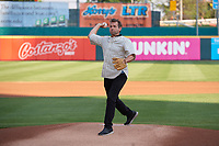 Field of Dreams actor Dwier Brown, who played John Kinsella in the movie, throws out the ceremonial first pitch before a Buffalo Bisons International League game against the Syracuse Mets on June 29, 2019 at Sahlen Field in Buffalo, New York.  Buffalo defeated Syracuse 9-3.  (Mike Janes/Four Seam Images)