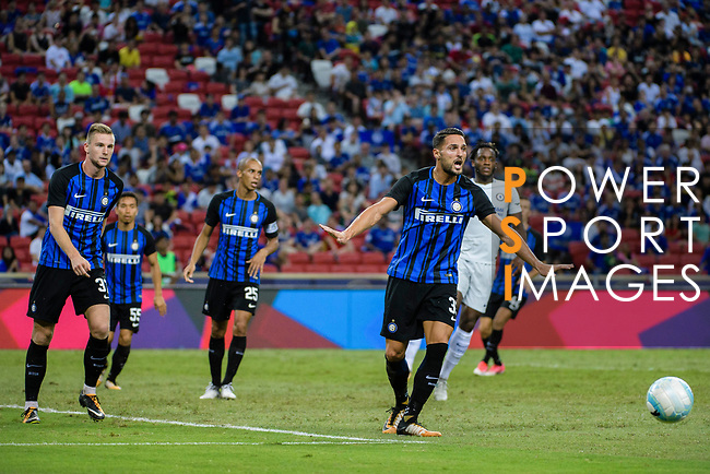 FC Internazionale Defender Danilo D'Ambrosio (R) reacts during the International Champions Cup 2017 match between FC Internazionale and Chelsea FC on July 29, 2017 in Singapore. Photo by Weixiang Lim / Power Sport Images