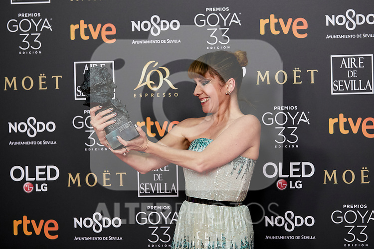 Eva Llorach (best new actress award for the film 'Quien te cantara') attends to 33rd Goya Awards at Fibes - Conference and Exhibition  in Seville, Spain. February 02, 2019. (ALTERPHOTOS/A. Perez Meca)