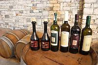 Bottles: Raki me Arra grappa type of spirit, Trebiano Trebbiano, E bardha e Beratit, Kashmer, Shesh i Bardhe. Cobo winery, Poshnje, Berat. Albania, Balkan, Europe.