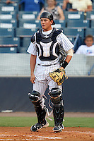 Tampa Yankees catcher Mitch Abeita #29 during a game against the Clearwater Threshers at Steinbrenner Field on June 22, 2011 in Tampa, Florida.  The game was suspended due to rain in the 10th inning with a score of 2-2.  (Mike Janes/Four Seam Images)