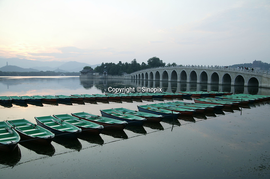 The Seventeen-Arch bridge at the Summer Palace. The Summer Palace, a palace 15km from Beijing, is mainly dominated by Longevity Hill (60 meters high) and Kunming Lake. It covers an expanse of 2.9 square kilometers, three quarters of which is water.