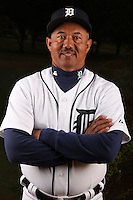February 27, 2010:  Coach Rafael Belliard (17) of the Detroit Tigers poses for a photo during media day at Joker Marchant Stadium in Lakeland, FL.  Photo By Mike Janes/Four Seam Images