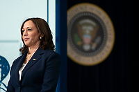 U.S. Vice President Kamala Harris listens while U.S. President Joe Biden speaks during an event marking the day that families will get their first monthly Child Tax Credit relief payments through the American Rescue Plan at the White House on Thursday July 15, 2021 in Washington, D.C. <br /> CAP/MPIFS<br /> ©MPIFS/Capital Pictures