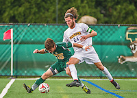 5 September 2014: La Salle University Explorers Midfielder/Forward Nick Becker, a Redshirt Senior from Newtown, PA, battles University of Vermont Catamount Forward Shane Haley, a Sophomore from Williston, VT, at Virtue Field in Burlington, Vermont. The Catamounts, playing a man down for 66 minutes, defeated the visiting Explorers 2-1 on the first day of the Morgan Stanley Windjammer Classic Men's Soccer Tournament. Mandatory Credit: Ed Wolfstein Photo *** RAW (NEF) Image File Available ***