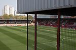 An interior view of the stadium showing the Braemar Road stand and Ealing Road terrace stand before Brentford hosted Leeds United in an EFL Championship match at Griffin Park. Formed in 1889, Brentford have played their home games at Griffin Park since 1904, but are moving to a new purpose-built stadium nearby. The home team won this match by 2-0 watched by a crowd of 11,580.