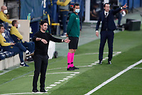 29th April 2021; Ceramica Stadium, Villareal, Spain; EUropa League semi-final football, Villareal CF versus Arsenal;  Arsenal FC head coach Mikel Arteta and Villarreal CF head coach Unai Emery
