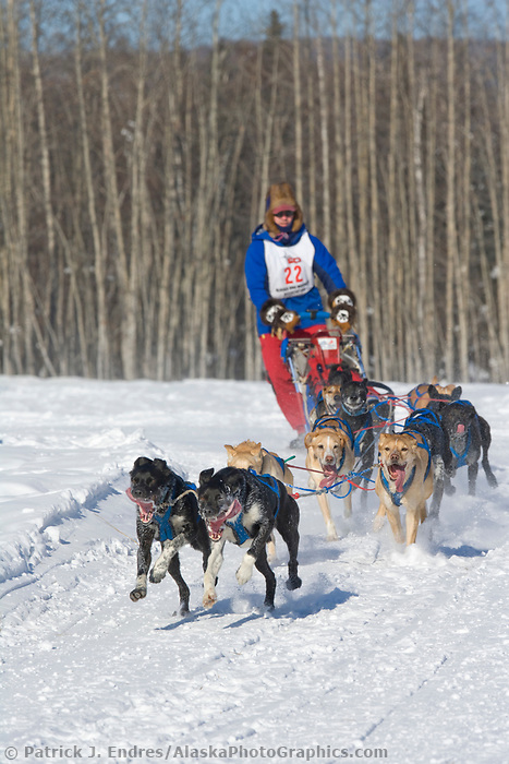 Musher Arleigh Reynolds, 2007 Open North American Championship sled dog race (the world's premier sled dog sprint race) is held annually in Fairbanks, Alaska.