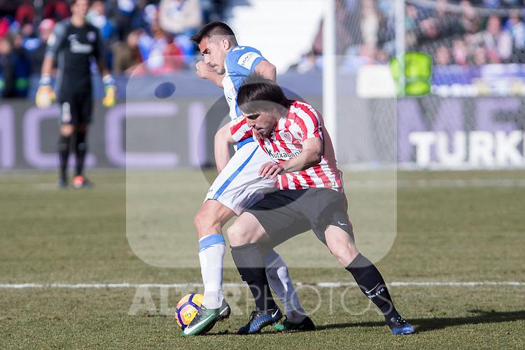 Club Deportivo Leganes's Unai Bustinza, Atletic de Bilbao's Benat Etxebarria  during the match of La Liga between Leganes and Athletic Club at Butarque Stadium  in Madrid , Spain. January  14, 2017. (ALTERPHOTOS/Rodrigo Jimenez)