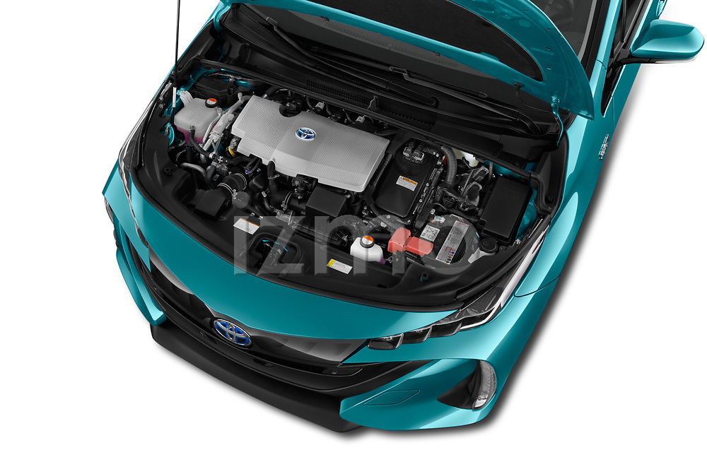 Car Stock 2019 Toyota Prius-Prime Plus 5 Door Hatchback Engine  high angle detail view